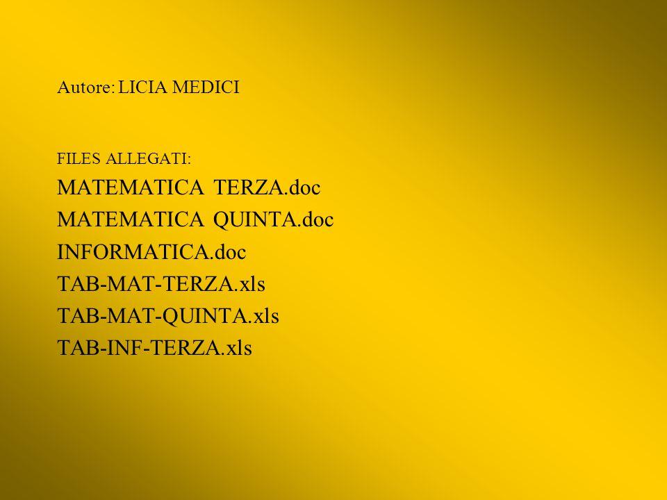 MATEMATICA TERZA.doc MATEMATICA QUINTA.doc INFORMATICA.doc