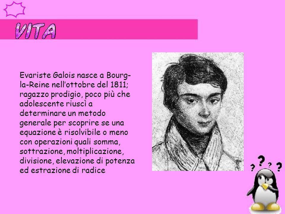 Evariste Galois nasce a Bourg-la-Reine nell'ottobre del 1811; ragazzo prodigio, poco più che adolescente riuscì a determinare un metodo generale per scoprire se una equazione è risolvibile o meno con operazioni quali somma, sottrazione, moltiplicazione, divisione, elevazione di potenza ed estrazione di radice