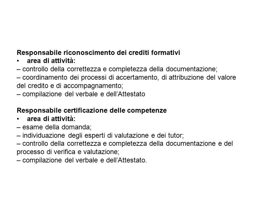 Responsabile riconoscimento dei crediti formativi