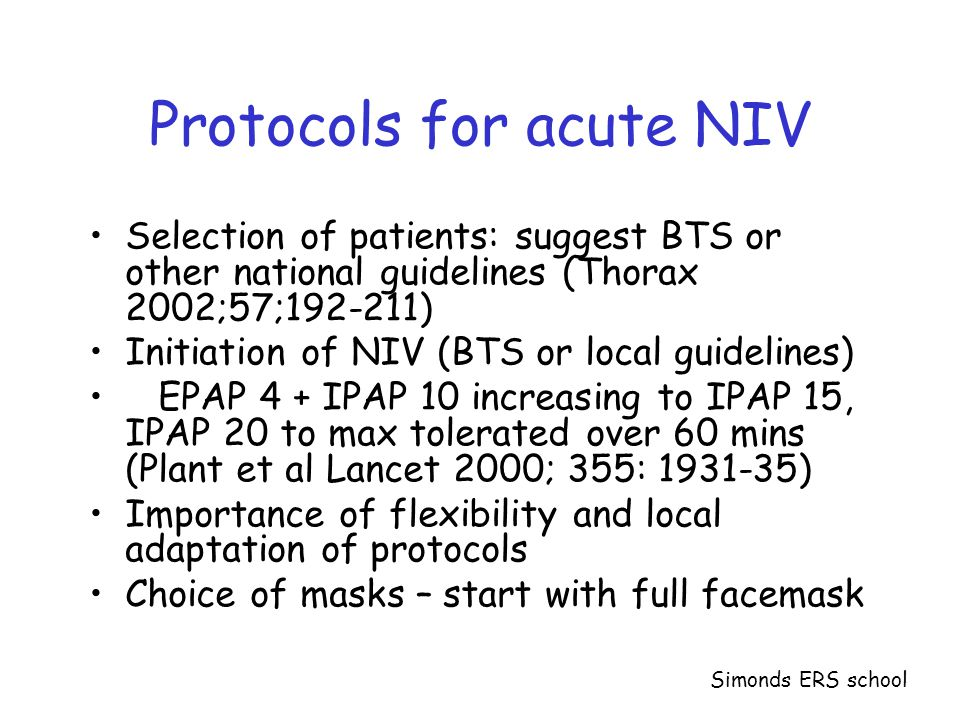 Protocols for acute NIV