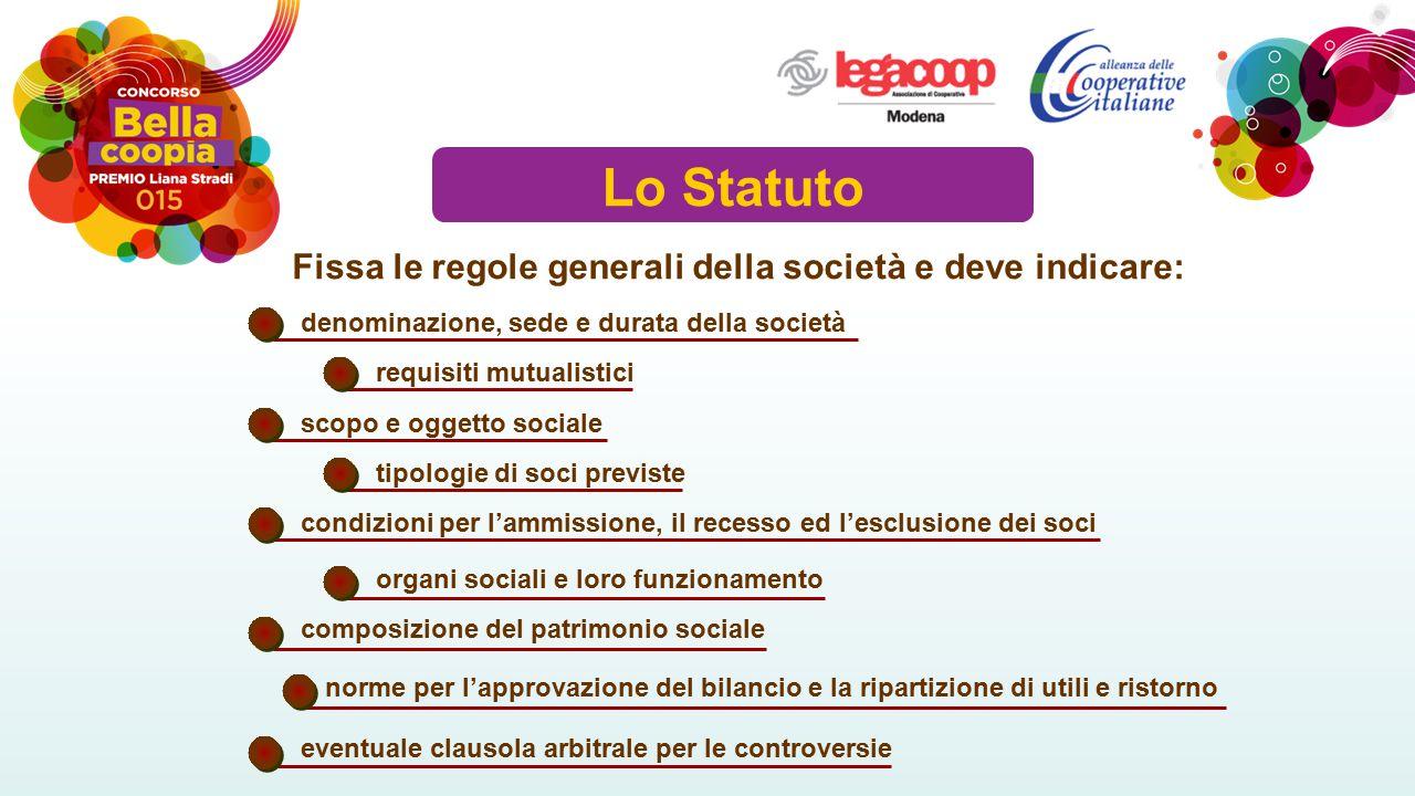 Lo Statuto Fissa le regole generali della società e deve indicare: