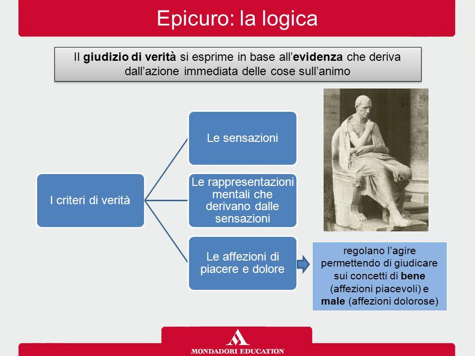 Epicuro: la logica Il giudizio di verità si esprime in base all'evidenza che deriva dall'azione immediata delle cose sull'animo.