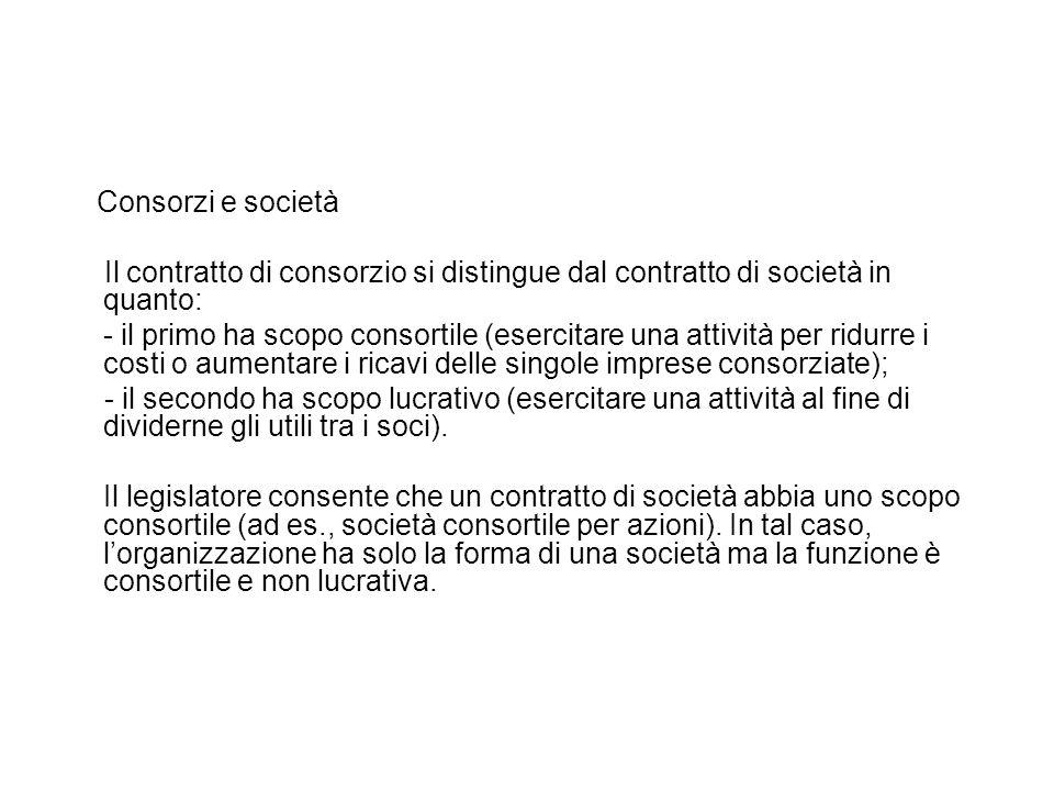 Consorzi e società Il contratto di consorzio si distingue dal contratto di società in quanto: