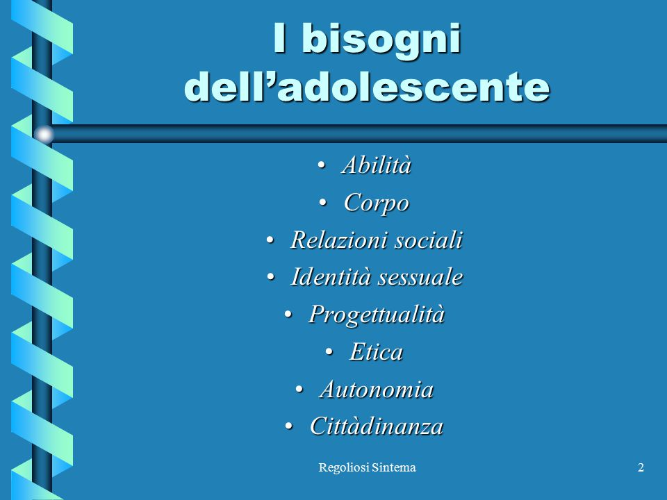I bisogni dell'adolescente