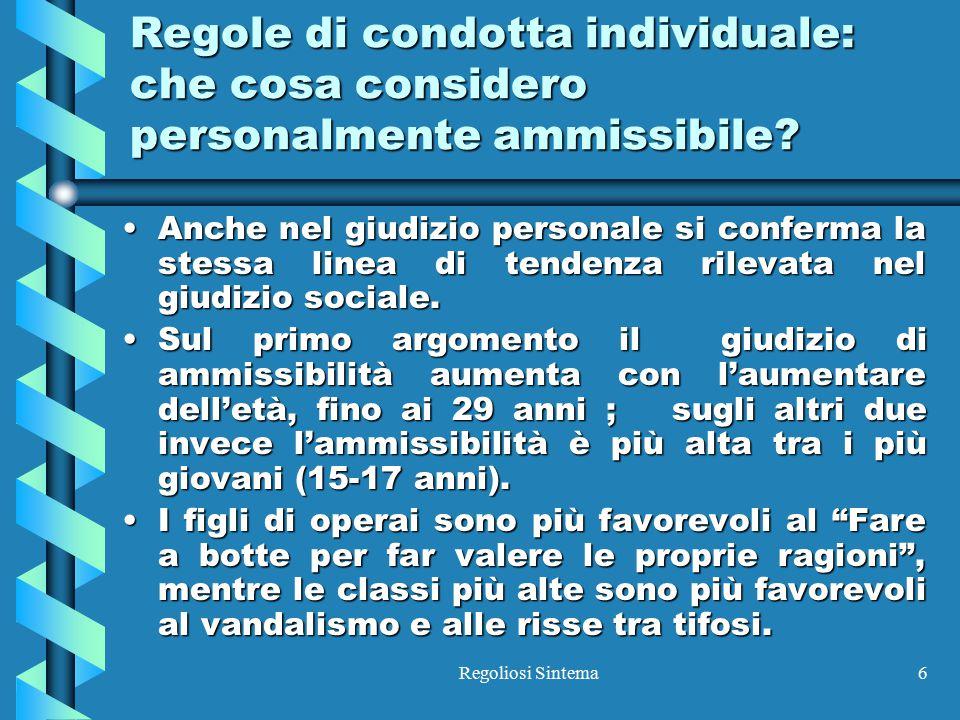 Regole di condotta individuale: che cosa considero personalmente ammissibile