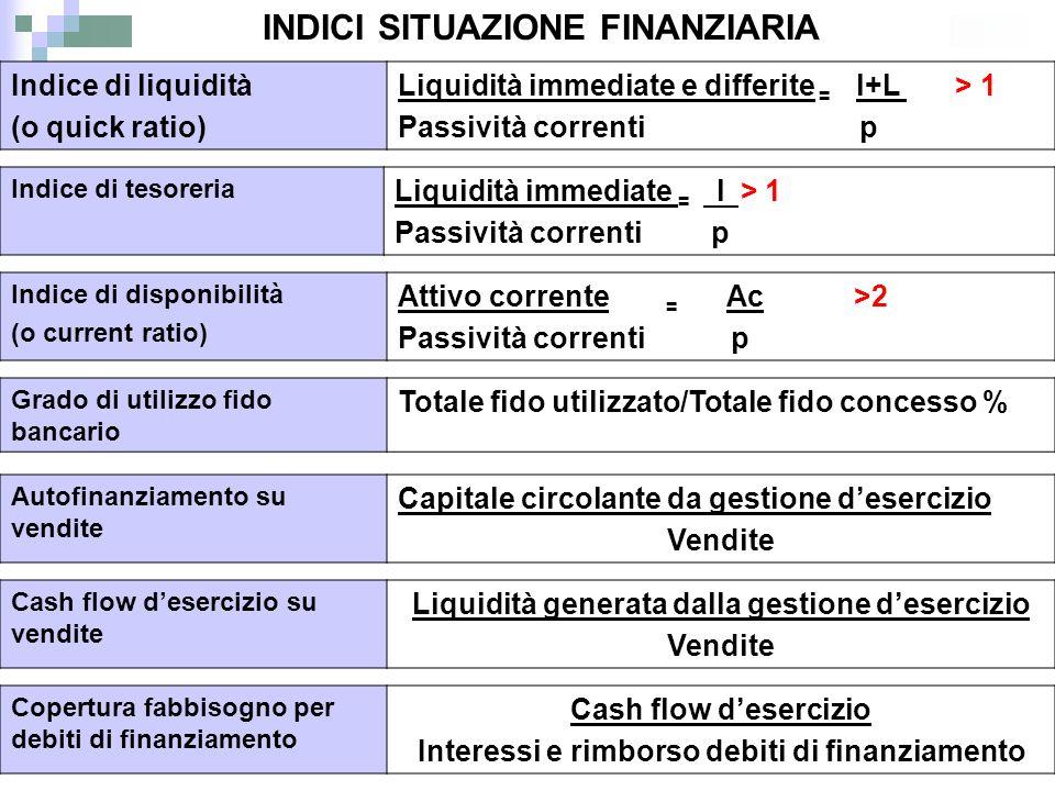 INDICI SITUAZIONE FINANZIARIA
