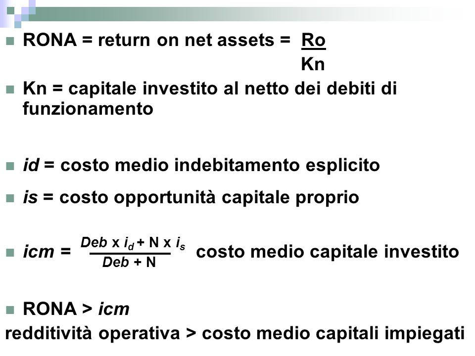 RONA = return on net assets = Ro Kn