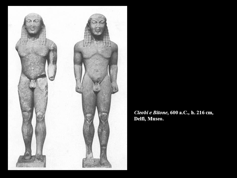 Cleobi e Bitone, 600 a.C., h. 216 cm, Delfi, Museo.
