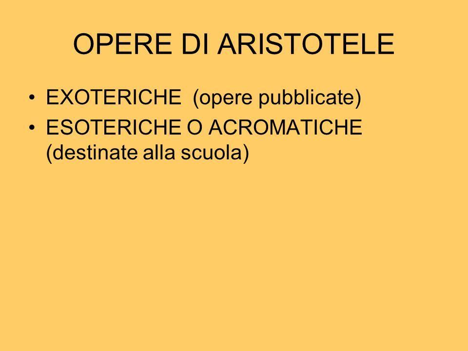 OPERE DI ARISTOTELE EXOTERICHE (opere pubblicate)