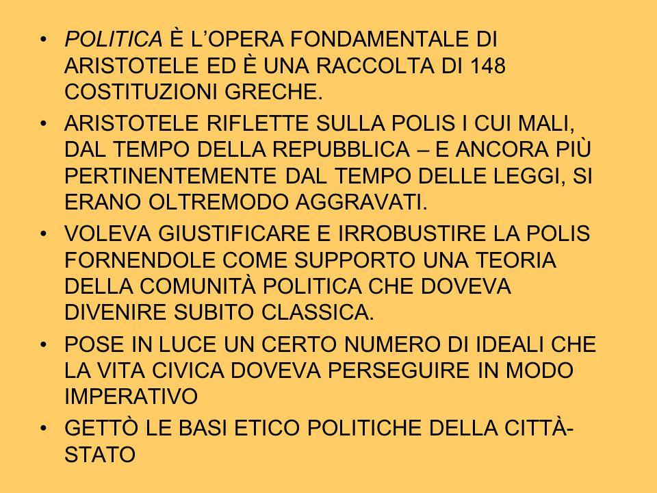 POLITICA È L'OPERA FONDAMENTALE DI ARISTOTELE ED È UNA RACCOLTA DI 148 COSTITUZIONI GRECHE.