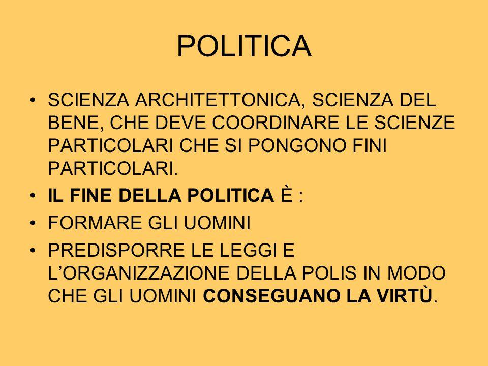 POLITICA SCIENZA ARCHITETTONICA, SCIENZA DEL BENE, CHE DEVE COORDINARE LE SCIENZE PARTICOLARI CHE SI PONGONO FINI PARTICOLARI.