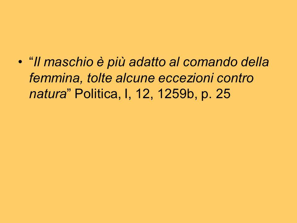 Il maschio è più adatto al comando della femmina, tolte alcune eccezioni contro natura Politica, I, 12, 1259b, p.