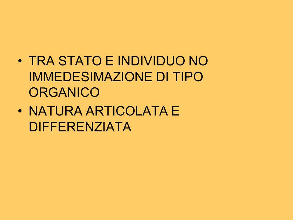 TRA STATO E INDIVIDUO NO IMMEDESIMAZIONE DI TIPO ORGANICO