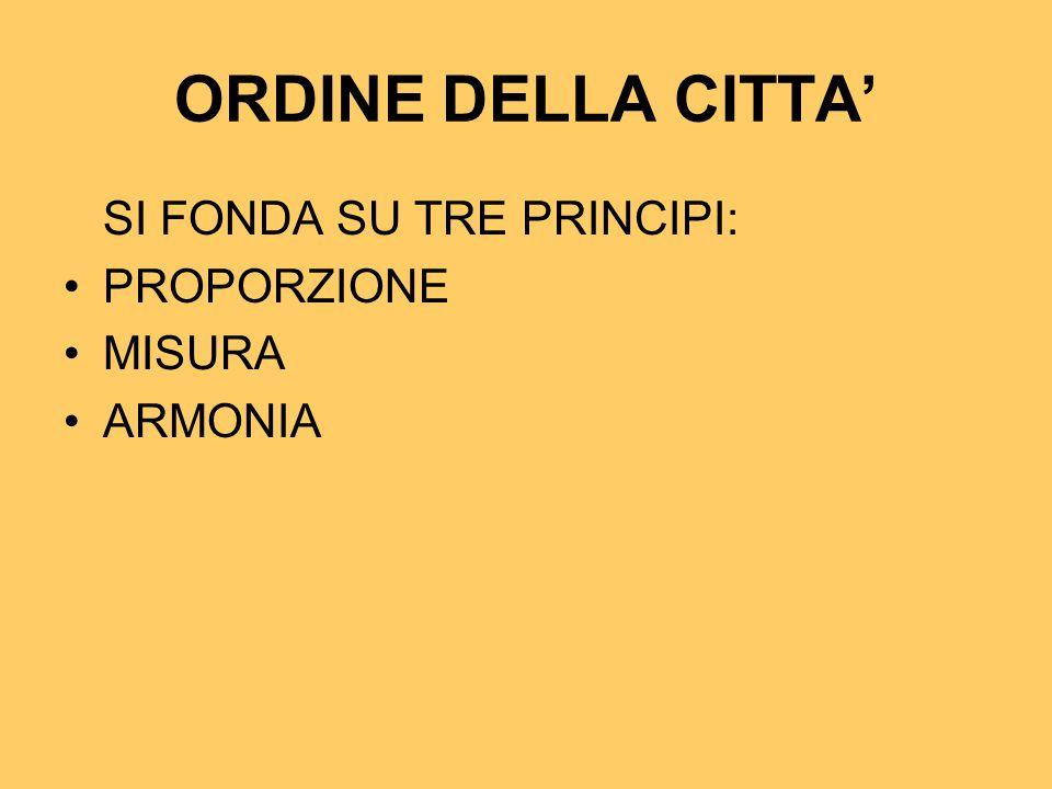 ORDINE DELLA CITTA' SI FONDA SU TRE PRINCIPI: PROPORZIONE MISURA