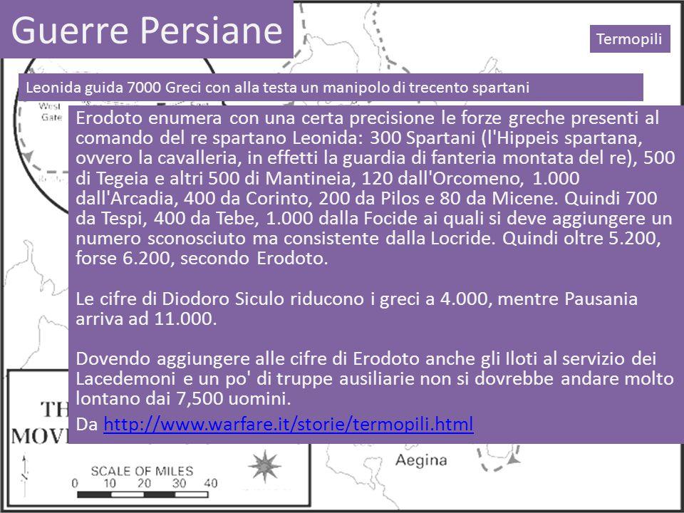 Guerre Persiane Termopili. Leonida guida 7000 Greci con alla testa un manipolo di trecento spartani.