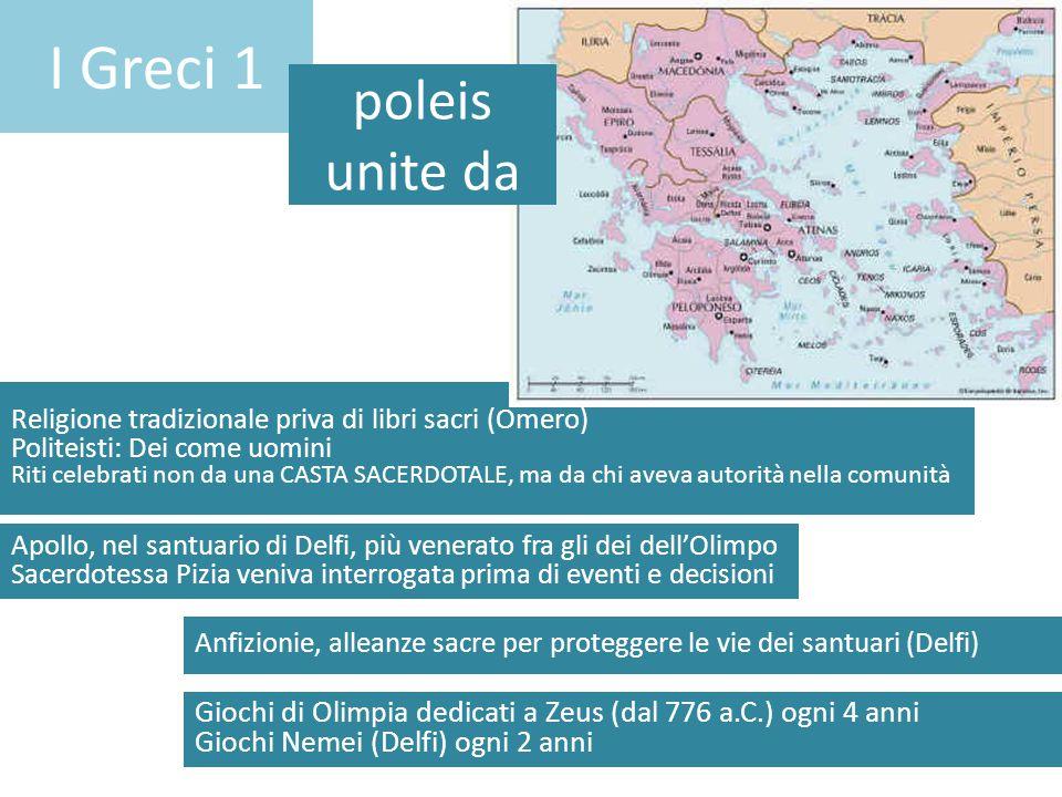 I Greci 1 poleis unite da. Religione tradizionale priva di libri sacri (Omero) Politeisti: Dei come uomini.