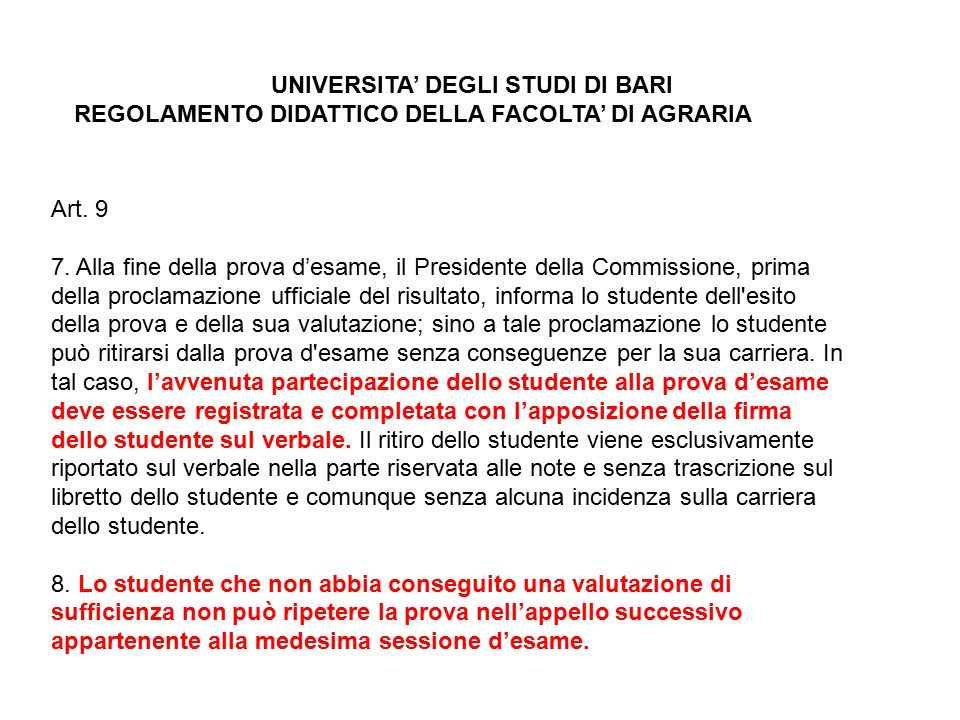 UNIVERSITA' DEGLI STUDI DI BARI