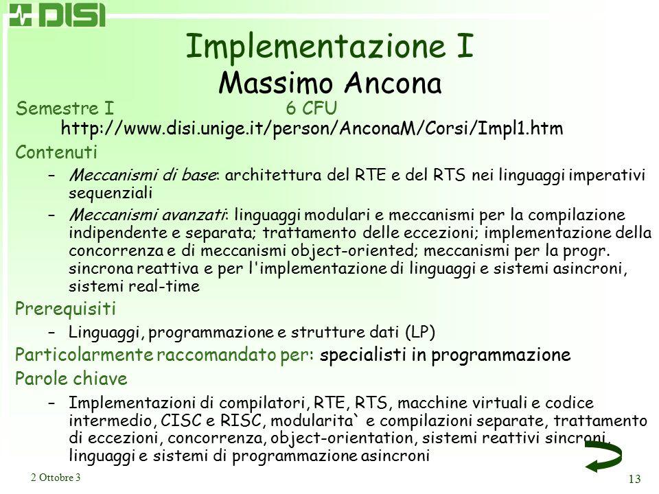 Sistemi distribuiti I Massimo Ancona (W. Cazzola)