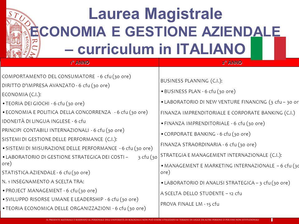 Laurea Magistrale ECONOMIA E GESTIONE AZIENDALE – curriculum in ITALIANO