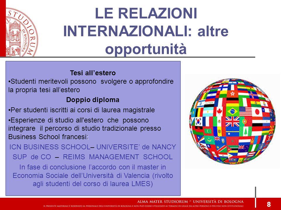 LE RELAZIONI INTERNAZIONALI: altre opportunità