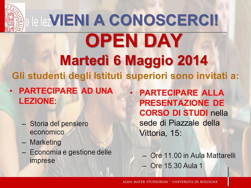 VIENI A CONOSCERCI! OPEN DAY Martedì 6 Maggio 2014