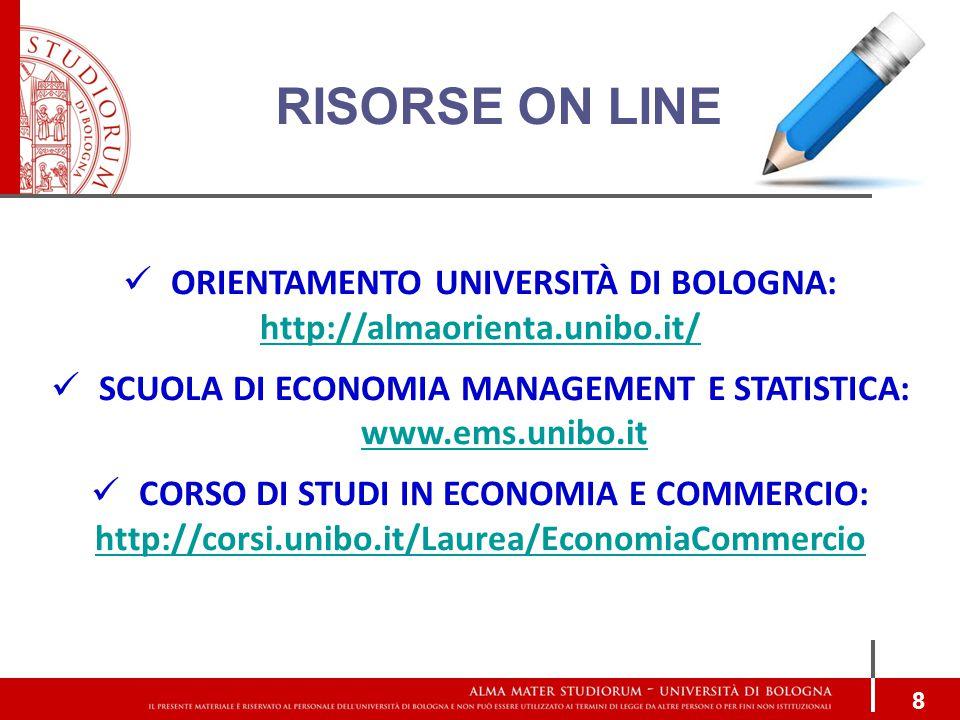 RISORSE ON LINE ORIENTAMENTO UNIVERSITÀ DI BOLOGNA: