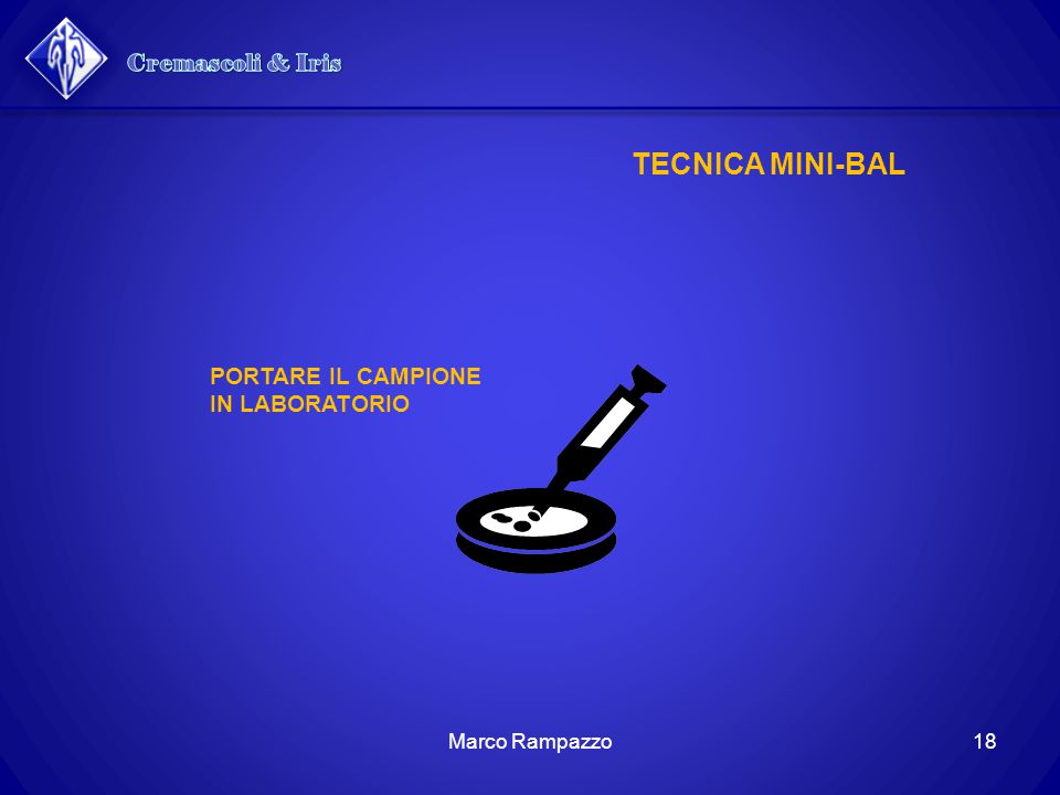 Cremascoli & Iris TECNICA MINI-BAL PORTARE IL CAMPIONE IN LABORATORIO