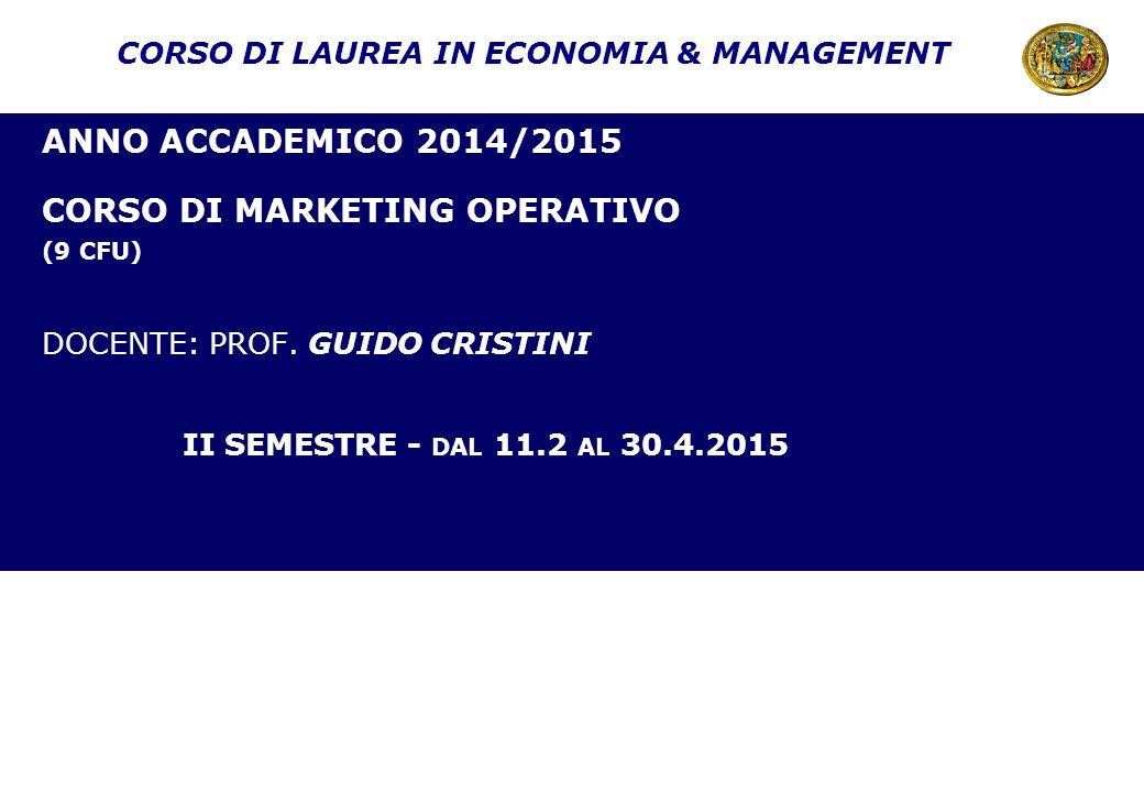 CORSO DI LAUREA IN ECONOMIA & MANAGEMENT