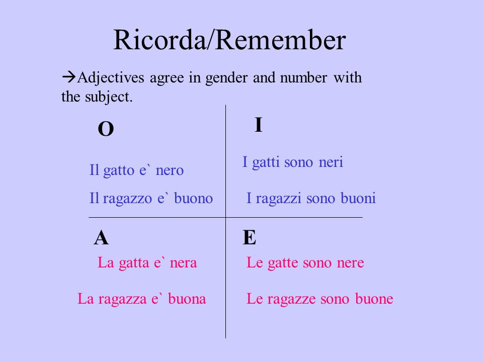 Ricorda/Remember I O A E