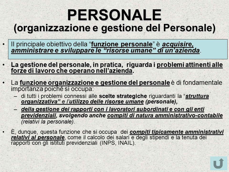 PERSONALE (organizzazione e gestione del Personale)
