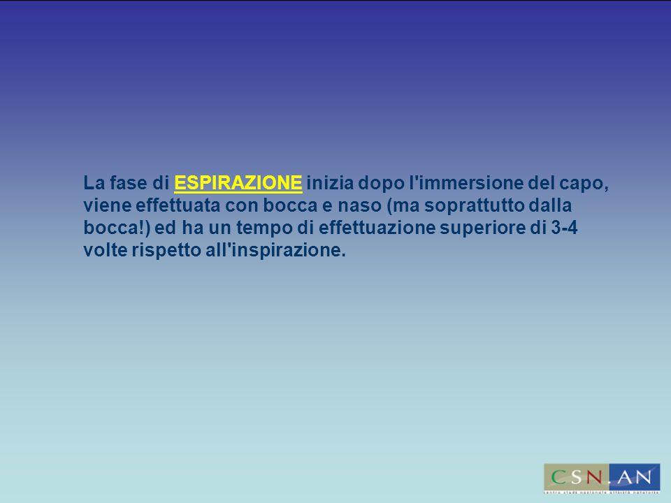La fase di ESPIRAZIONE inizia dopo l immersione del capo, viene effettuata con bocca e naso (ma soprattutto dalla bocca!) ed ha un tempo di effettuazione superiore di 3-4 volte rispetto all inspirazione.