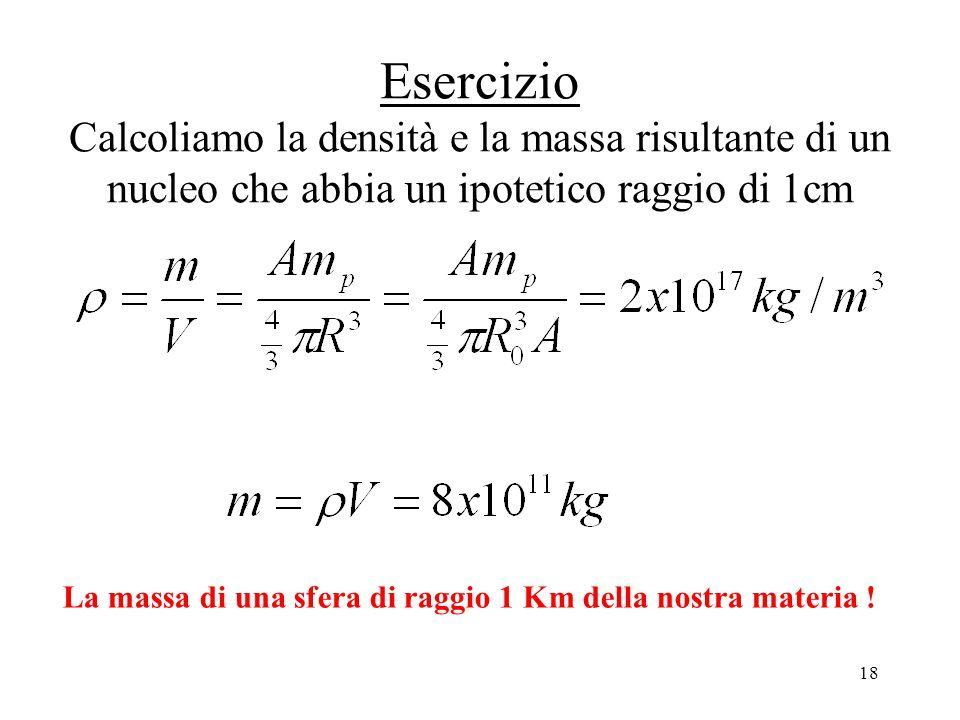 Esercizio Calcoliamo la densità e la massa risultante di un nucleo che abbia un ipotetico raggio di 1cm