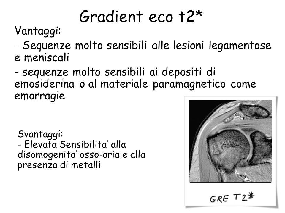 Gradient eco t2* Vantaggi: