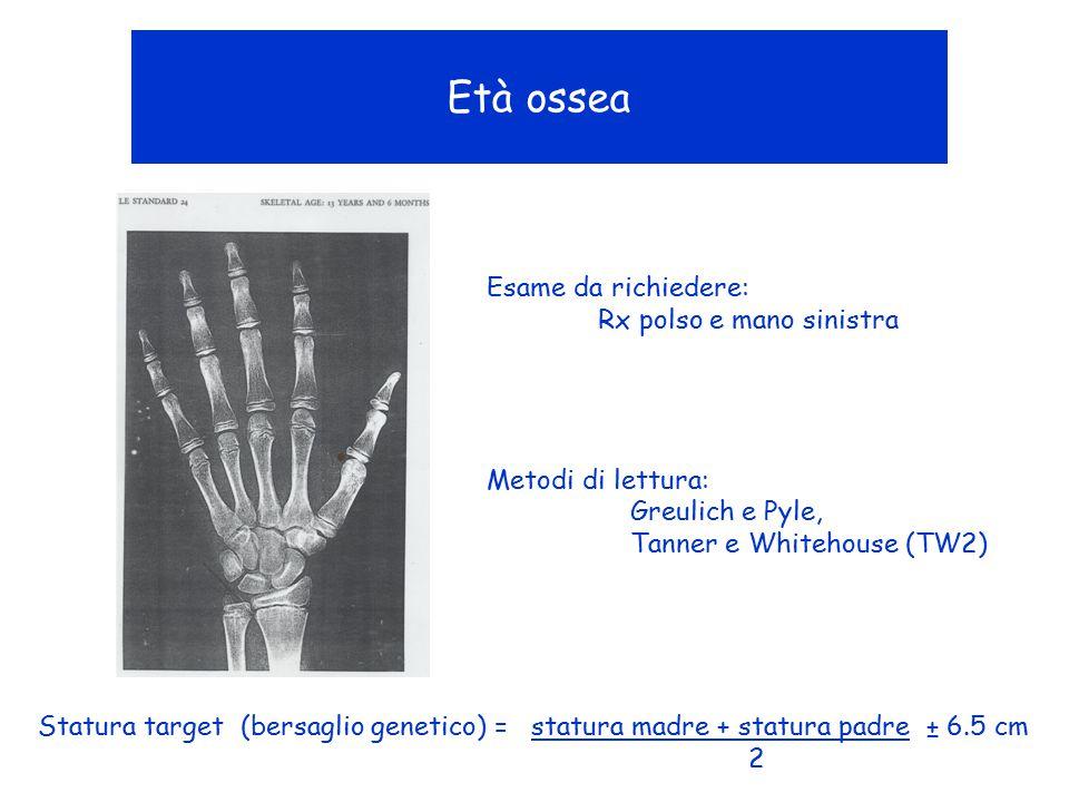 Età ossea Esame da richiedere: Rx polso e mano sinistra