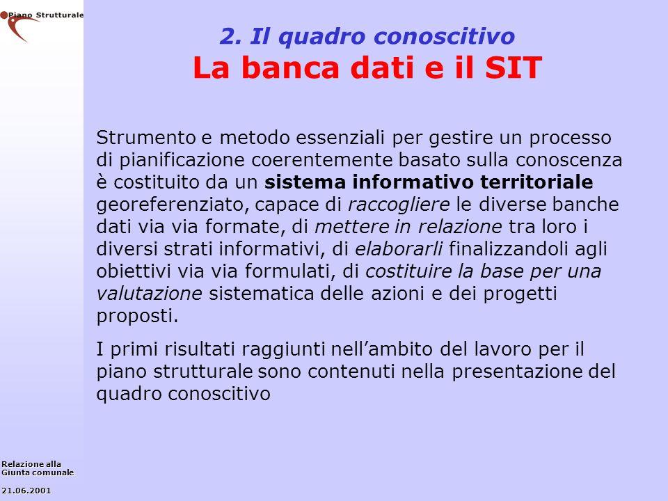 2. Il quadro conoscitivo La banca dati e il SIT