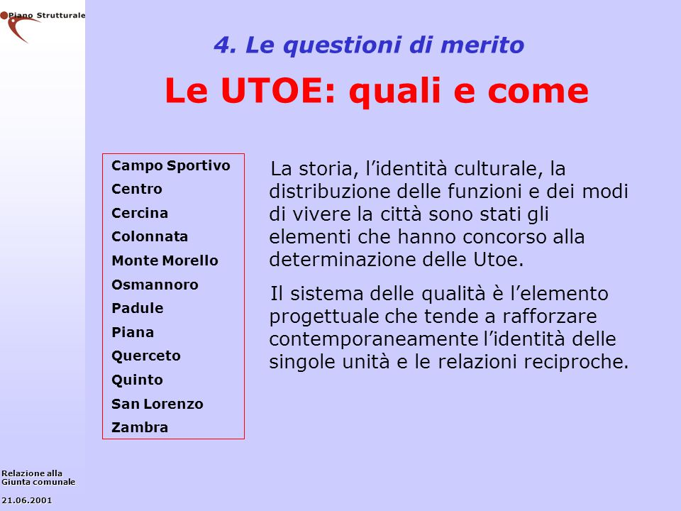 4. Le questioni di merito Le UTOE: quali e come