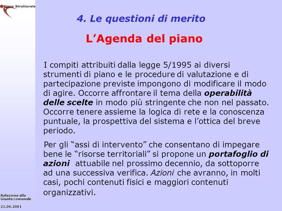 4. Le questioni di merito L'Agenda del piano