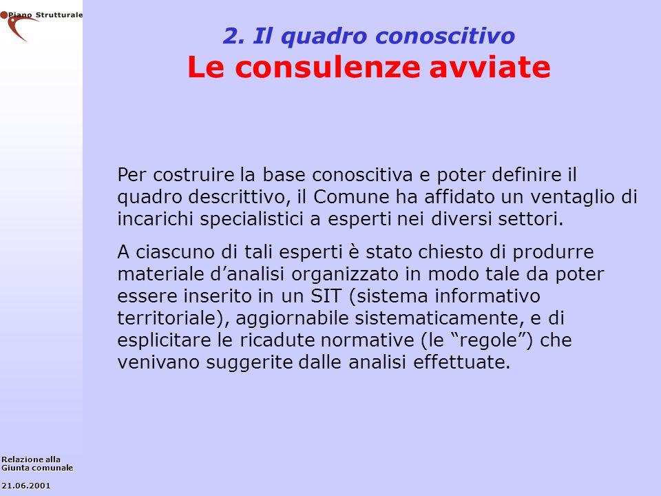 2. Il quadro conoscitivo Le consulenze avviate