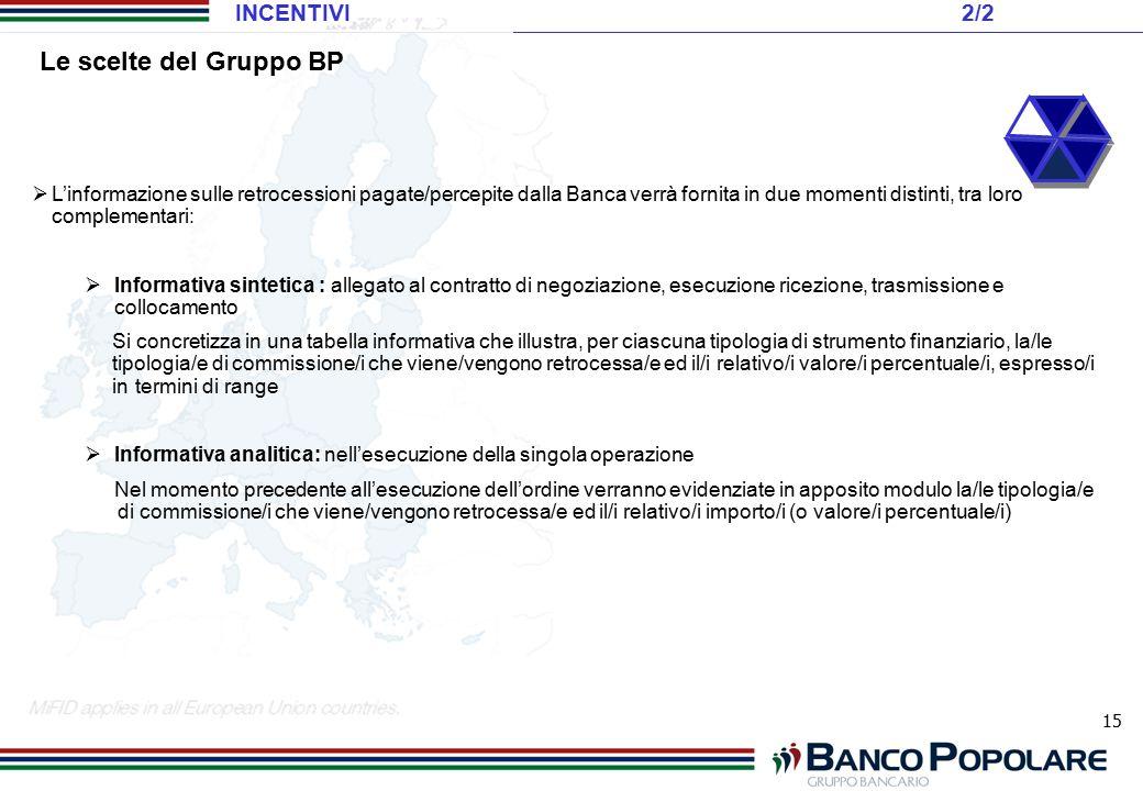 Le scelte del Gruppo BP INCENTIVI 2/2