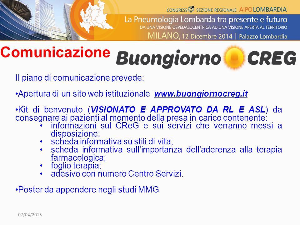 Comunicazione Il piano di comunicazione prevede: