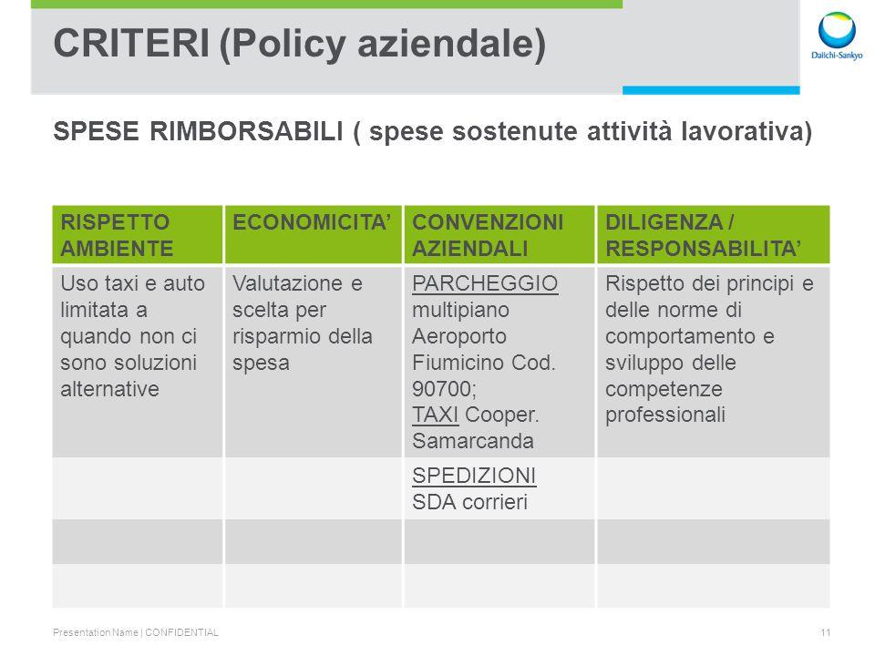 CRITERI (Policy aziendale)