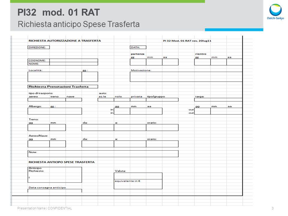 PI32 mod. 01 RAT Richiesta anticipo Spese Trasferta