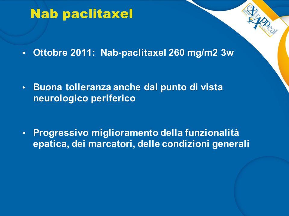 Nab paclitaxel Ottobre 2011: Nab-paclitaxel 260 mg/m2 3w