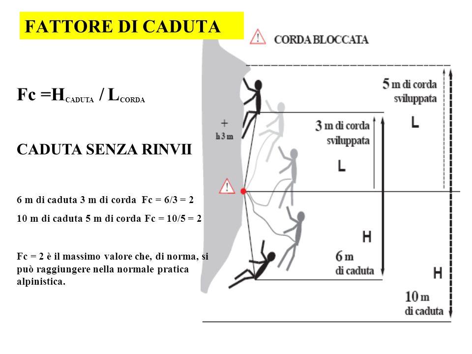 FATTORE DI CADUTA Fc =HCADUTA / LCORDA CADUTA SENZA RINVII