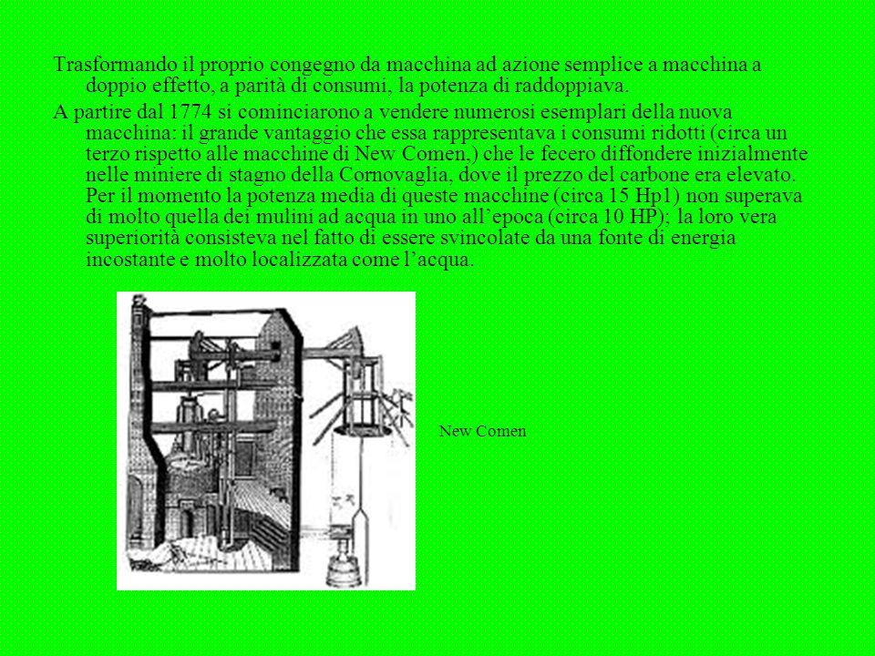 Trasformando il proprio congegno da macchina ad azione semplice a macchina a doppio effetto, a parità di consumi, la potenza di raddoppiava.