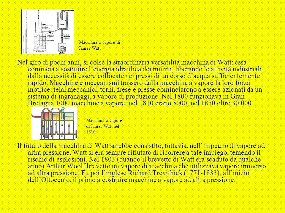 Nel giro di pochi anni, si colse la straordinaria versatilità macchina di Watt: essa comincia a sostituire l'energia idraulica dei mulini, liberando le attività industriali dalla necessità di essere collocate nei pressi di un corso d'acqua sufficientemente rapido. Macchine e meccanismi trassero dalla macchina a vapore la loro forza motrice: telai meccanici, torni, frese e presse cominciarono a essere azionati da un sistema di ingranaggi, a vapore di produzione. Nel 1800 funzionava in Gran Bretagna 1000 macchine a vapore: nel 1810 erano 5000, nel 1850 oltre 30.000