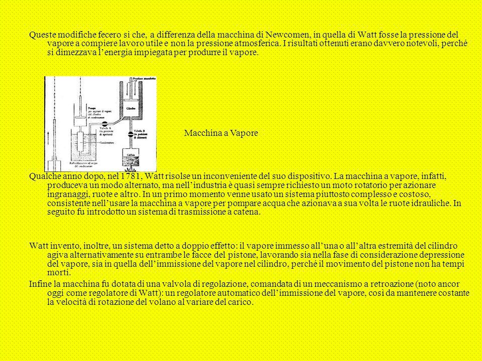 Queste modifiche fecero si che, a differenza della macchina di Newcomen, in quella di Watt fosse la pressione del vapore a compiere lavoro utile e non la pressione atmosferica. I risultati ottenuti erano davvero notevoli, perché si dimezzava l'energia impiegata per produrre il vapore.