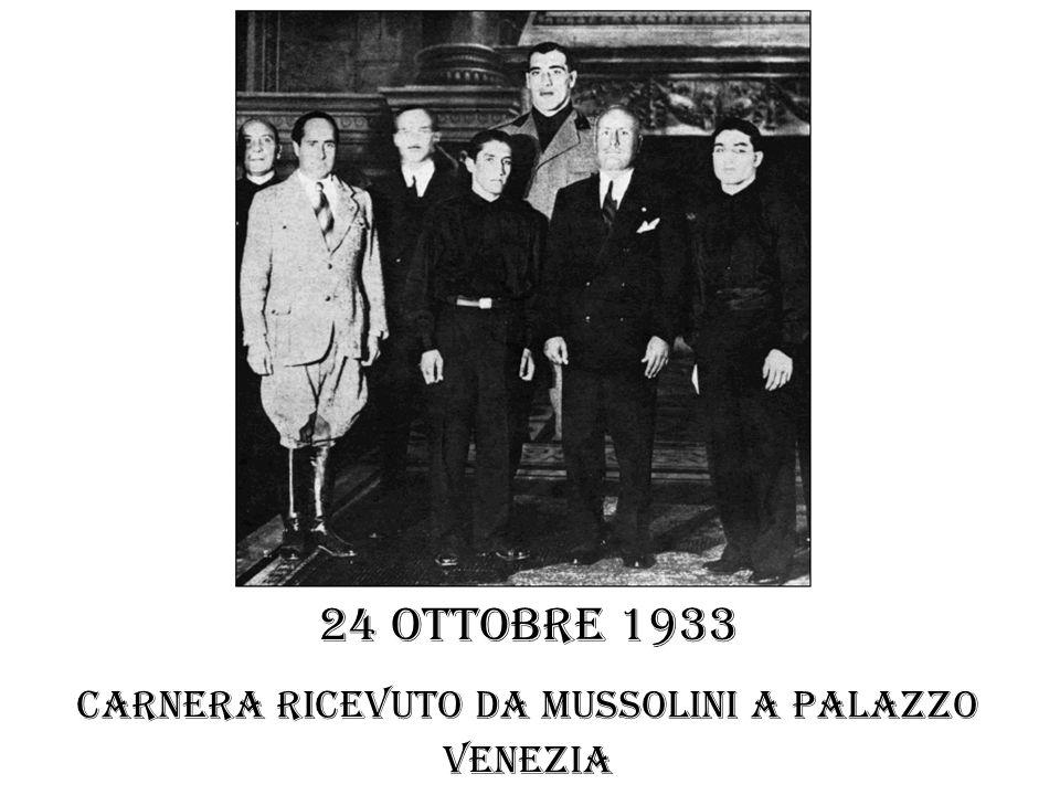 Carnera ricevuto da Mussolini a palazzo venezia