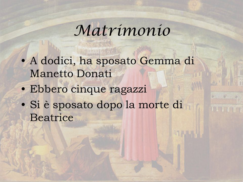 Matrimonio A dodici, ha sposato Gemma di Manetto Donati