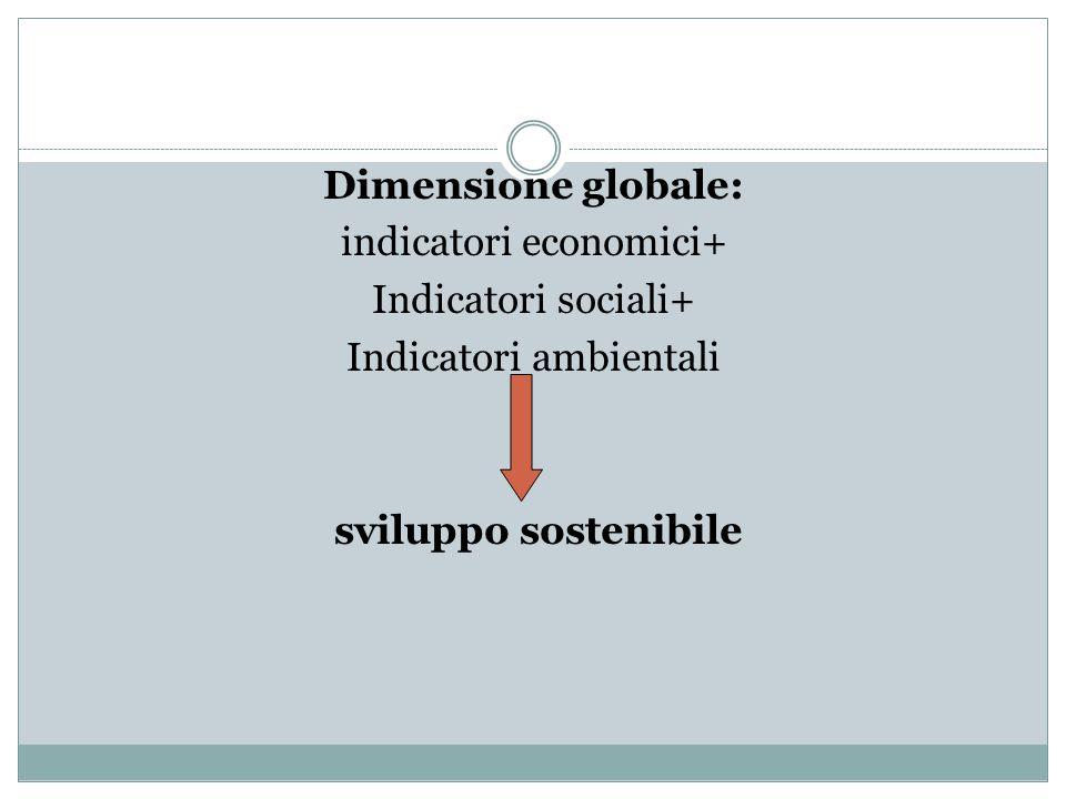 Dimensione globale: indicatori economici+ Indicatori sociali+ Indicatori ambientali sviluppo sostenibile